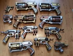 Hyper Realistic Nerf Blaster Mods That Are Out Of This World Arte Steampunk, Steampunk Weapons, Steampunk Crafts, Steampunk Design, Steampunk Fashion, Steampunk Kids, Fashion Goth, Modified Nerf Guns, Pistola Nerf