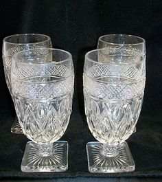 Lot 2 Vintage Imperial Glass Ohio Cape Cod Clear Stem #1600 4 Ice Tea Glasses
