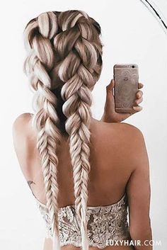 Gorgeous Dutch Braids! The beautiful @emilyrosehannon wears her Ash Blonde #luxyhairextensions for this look.
