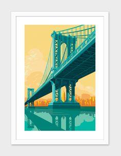 """Manhattan Bridge"", Numbered Edition Fine Art Print by Remko Heemskerk - From $25.00 - Curioos"