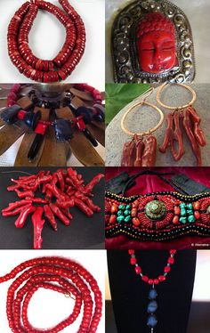 """""""Bold Beautiful Red Coral Jewelry Pieces & Supplies"""" Curated by Clearwater Designs"""