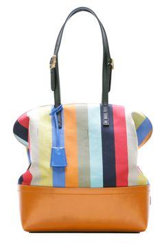 Fendi 2Bag Pequin Multi-Stripe Canvas and Leather Shopper