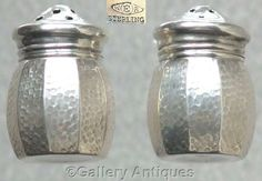 ART DECO William R. Elfers Co STERLING SILVER individual SALT and PEPPER POTS