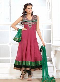 Stone Work Net Anarkali Salwar Suit  Color Lines