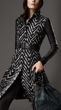 ShopStyle.com: Long Leather Detail Tweed Trench Coat $2,595.00