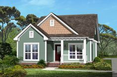 sweet 1300 sf house w/ screen porch and carport Houseplans.com Cottage Front Elevation Plan #430-40