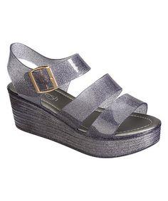 de68c4bcec7044 Loving this Black Glitter Romona Sandal on  zulily!  zulilyfinds Black  Glitter