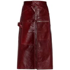 Vetements Leather Skirt ($1,545) ❤ liked on Polyvore featuring skirts, red skirt, knee length leather skirt, red leather skirt und leather skirt