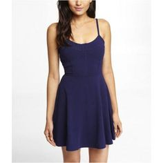 $49, Navy Skater Dress: Express Corset Seamed Stretch Cotton Skater Dress Blue Small. Sold by Express. Click for more info: https://lookastic.com/women/shop_items/281630/redirect