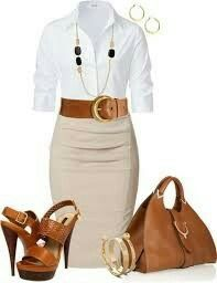 Beige skirt white shirt tan belt and shoes