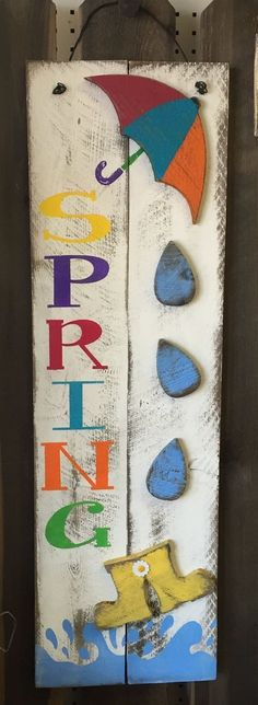 "Spring Raindrops and Galoshes Tall Holiday/Seasonal Wood Sign » Handmade & Painted, Rustic Distressed ""Pallet"" Wood Sign"