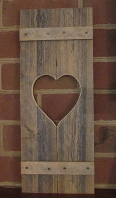 Rustic Mini Wood Shutter with Heart Cut-Out by SewArtzy on Etsy