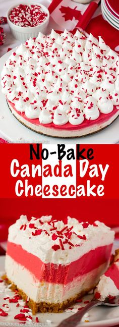 This No-Bake Canada Day Cheesecake is an unbelievably easy dessert that takes absolutely no time or effort to make! The red and white layers, cool whip topping and red and white sprinkles makes this the perfect dessert for Canada Day! White Desserts, Summer Desserts, No Bake Desserts, Easy Desserts, Summer Recipes, Best Cheesecake, Cheesecake Recipes, Canada Day Party, Canadian Food