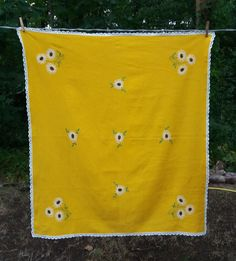 Polish Yellow Tablecloth, Topper, Hand Embroidered White U0026 Green Flowers, Table  Linen,