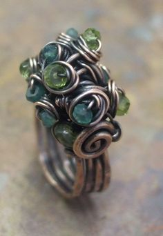 Woodland Moss Ring, Copper, Citrine, Green Onyx and Peridot, Wire Jewelry Rings, Spoon Jewelry, Funky Jewelry, Jewelry Art, Jewelery, Wire Bracelets, Jewellery Box, Jewelry Ideas, Copper Earrings