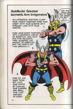 10 Vintage Marvel Heroes Teaching Calisthenics Stan lee Presents: The Might Marvel Comics Strength and Fitness Book (1970s) - Thor