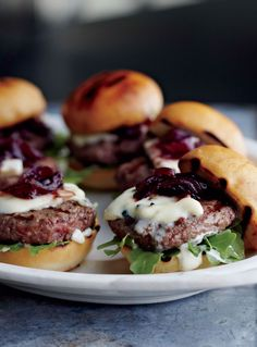 Sliders with Red Onion Marmalade and Blue Cheese