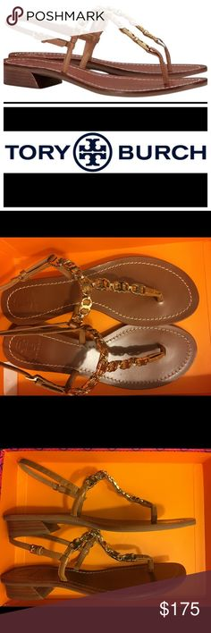 Tory Burch Gemini Link Strap Sandal NWT Royal Tan Symmetrical links inspired by Tory Burch's twin sons and her zodiac sign form a statement-making chain on the svelte straps of a leather sandal. Brand New with Tags and Box  Adjustable slingback strap with buckle closure. Leather upper and lining/rubber sole. By Tory Burch; Size 7.5  7355 Style #31258 Tory Burch Shoes Sandals