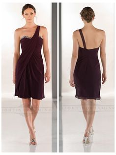 One-shoulder Sweetheart Neckline Ruched Bodice Cocktail Bridesmaid or Dama Dresses