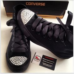 All Black Converse with Crystal Toes & Black Ribbons | ConverseByGem | Fashion Finds