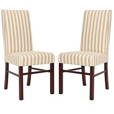 # HSN. Safavieh Set of 2 Classic Side Chairs - Taupe and White Stripe at HSN.com.