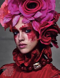 Julia Jamin wears Valentino Haute Couture dress with Peter Putz necklace … Victor Demarchelier (photo) … Christiane Arp (editor) … Didier Malige (hair) … Fulvia Farolfi (make-up) … Bernadette Thompson (nails) … High-Bloom, Vogue Germany, November 2016…