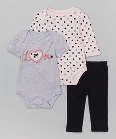 Love this bon bébé Gray & Pink Bodysuit Set by bon bébé on #zulily! #zulilyfinds