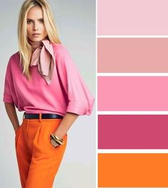 Dark Winter orange resembles the pants. Few Winters will wear large blocks of orange, and it is never entirely peaceful, but the right colour and textile can find balance with the palette (which this isn't except for the belt) and look very creative.