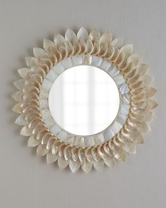 Horchow White Shell Floral Mirror from Horchow   BHG.com Shop