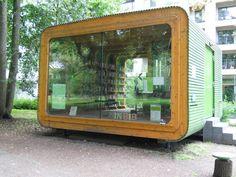 """pop-up,"" mobile, modular library in Stadtgarten, Cologne"