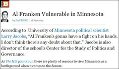 A new report from Breitbart News highlights recent polling which shows that Al Franken is vulnerable to defeat in this year's Midterm Elections.