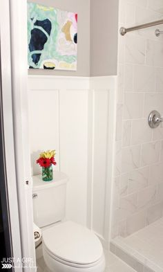 If you have a small bathroom, you MUST pin this post! This transformation is amazing!!! | JustAGirlAndHerBlog.com