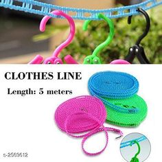Checkout this latest Clotheslines Product Name: *Anti-Slip Clothes Washing Line Drying  Rope With Hooks * Pack: Pack of 1 Product Length: 5 M Easy Returns Available In Case Of Any Issue   Catalog Rating: ★3.9 (344)  Catalog Name: Urban Luxeviera Home & Kitchen Utilities Vol 2 CatalogID_346693 C135-SC1646 Code: 241-2569612-282