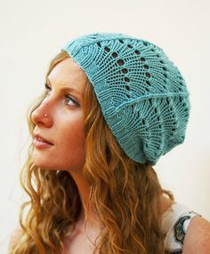 """Knitting - Free Pattern - Scallop Lace Hat pattern"""" - Level: easy.    (Just one ball for this hat)"""
