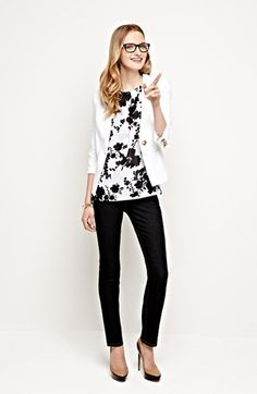 Work Style Tip: Try a floral print to mix up a classic black & white look