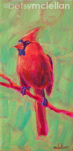 Cardinal Original Painting by betsymclellanstudio on Etsy, $35.00
