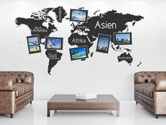 #Fotorahmen Wandtattoo Weltkarte als weltoffene Wandgestaltungsidee für die besten Urlaubsfotos. #Bilder #Wandgestaltung
