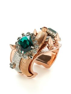 Two-Tone Crystal & Spike Cuff Bracelet by Mawi at Gilt