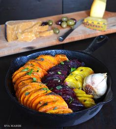 The Art of the Stress-free Happy Hour: Olive Oil & Salt Roasted Sweet Potatoes & Beets. {Vegan Recipe}