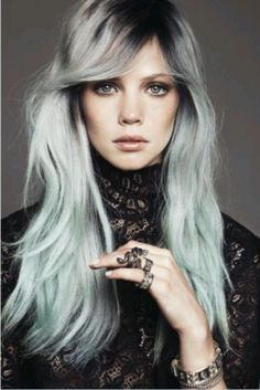 Silver/grey hair, or how about this one, maybe with a little less blue. Any thoughts?