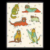 Cats Wearing Dinosaur Costumes Sticker