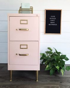 Chalk Painted Filing Cabinet Makeover Beautiful work on the cabinet.  I don´t agree on the words in the frame, eveyone makes mistakes.  If this is true, no good bosses ;excist -)