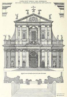 Elevation of Vignola's Church of the Gesu, Rome