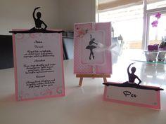 Indbydelse og bordpynt til konfirmation med ballerina på