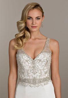Ivory satin trumpet bridal gown, illusion sweetheart neckline, fully beaded bodice with keyhole back, and chapel train Bridal Gowns from Lovelle By Lazaro - Bridal Style LL4500 by JLM Couture, Inc.