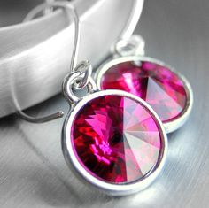 Hot Pink Crystal Earrings Fuchsia Swarovski by GreenRibbonGems, $25.00