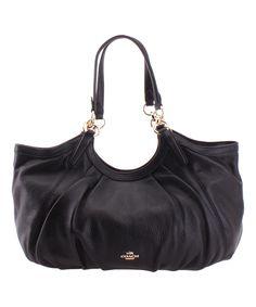 Black Ruched Leather Shoulder Bag