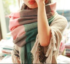Pink and green plaid cashmere over sized scarf by NativeBabydoll
