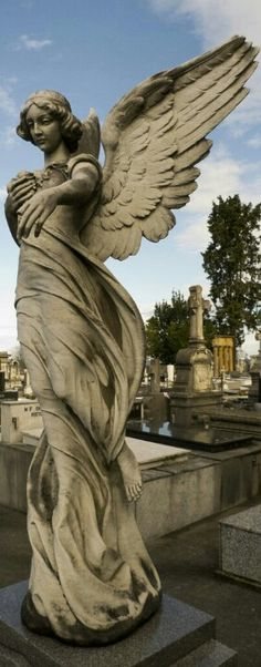Cemetery angel 2 by dlambeaut on DeviantArt - Everything About Charcoal Drawing and Sculpture Cemetery Angels, Cemetery Statues, Cemetery Art, Statue Ange, Stone Statues, Buddha Statues, Ange Demon, Garden Angels, Angeles