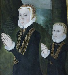 Lady Dorthe Lange and her daughter. Painted epitaph on alter panel, Hornslet church, c. 1580